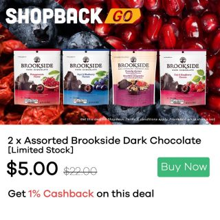 [Great deal on ShopBack Go] Our Great Deals here ⤵️ • Brookside Dark Chocolates - 2 for $5 (Usual $11/each) plus 1% Cashback! Purchase voucher via the link on mobile: https://app.shopback.com/FahW2O6Yheb Terms & Condition: • Voucher can only be used at the following Choc Spot outlets: Bedok Mall, JCube, Century Square, East Point, SingPost Center, Lucky Plaza, Alexandra Retail Centre and Star Vista. • Promotion valid on Selected Brookside Dark Chocolate with expiry date from April - May 2021. The promotion is valid from 25 Feb – 31 Mar 2021. While stocks last. Find out from your nearest Choc Spot with the link here: https://www.chocspot.com.sg/ @ChocSpotSG #darkchocolateChocolates #Treats #SpotOn #Happiness #shopbacksg