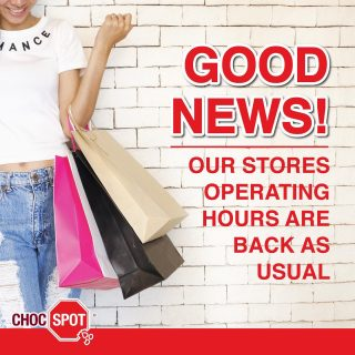 🍫 Hey, Choc Spot Fam! Good News! 🍫 Our stores' operating hours are back as usual! Do visit us. Stores Usual Operating Hours: - Alexandra Retail Centre: 11am - 9pm (Daily) - Bedok Mall: 10am - 10pm (Daily) - Century Square: 10am - 10pm (Daily) - Eastpoint Mall: 10am - 10pm (Daily) - Lucky Plaza: 10am - 10pm (Daily) - SingPost Centre: 10am - 10pm (Daily) Pop-Up Stores Usual Operating Hours: - Junction 8: 10am - 10pm (Daily) - Northpoint City (South Wing): 10am - 10pm (Daily)