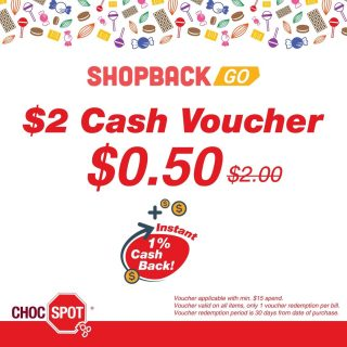Get MORE for value! Buy a $2 voucher at only $0.50 on ShopBack + 1% instant cashback! Check it out: https://app.shopback.com/Iwc3fZNUjeb • Voucher is redeemable with min. $15 spend in-stores (non-accumulative). • Promotion is valid from 25 Feb – 30 Nov 2021. • Limited to 5 vouchers that can be purchased per ShopBack GO customer. • Voucher is not valid in conjunction with other promotions, discounts, privileges, vouchers, deals or loyalty programs (except in-store promotions). • Voucher can only be used at the following Choc Spot outlets: Bedok Mall, JCube, Century Square, East Point, SingPost Center, Lucky Plaza, Alexandra Retail Centre. Find out from your nearest Choc Spot with the link here: https://www.chocspot.com.sg/ @ChocSpotSG #Chocolates #Treats #SpotOn #Happiness #ShopBack#morevalueformoney #instantcashback💵