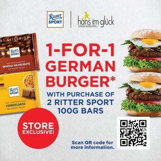 What do you get when 2 German brands have a collaboration? Great chocolate meets great burgers! From today to the 30th of June 2021, purchase 2pcs of Ritter Sport Chocolates (100g) at any Choc Spot stores and be entitled to a 1-for-1 burger promotion in @hansimglueck_singapore! Scan the QR code in the post, or click the link below for more information! Find out more: https://linktr.ee/HANSIMGLUCK_PROMO *T&Cs apply. #sweets #instafood #sgfoodies #chocspot #chocspotsg #shopsg #chocoholic #sgpromos #instafood #sgfoodie #rittersport #rittersportsg #hansimgluck #burgers #chocolates #chocolate